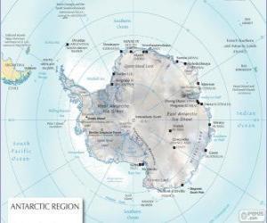 Χάρτης της ανταρκτικής. ο νότιος πόλος